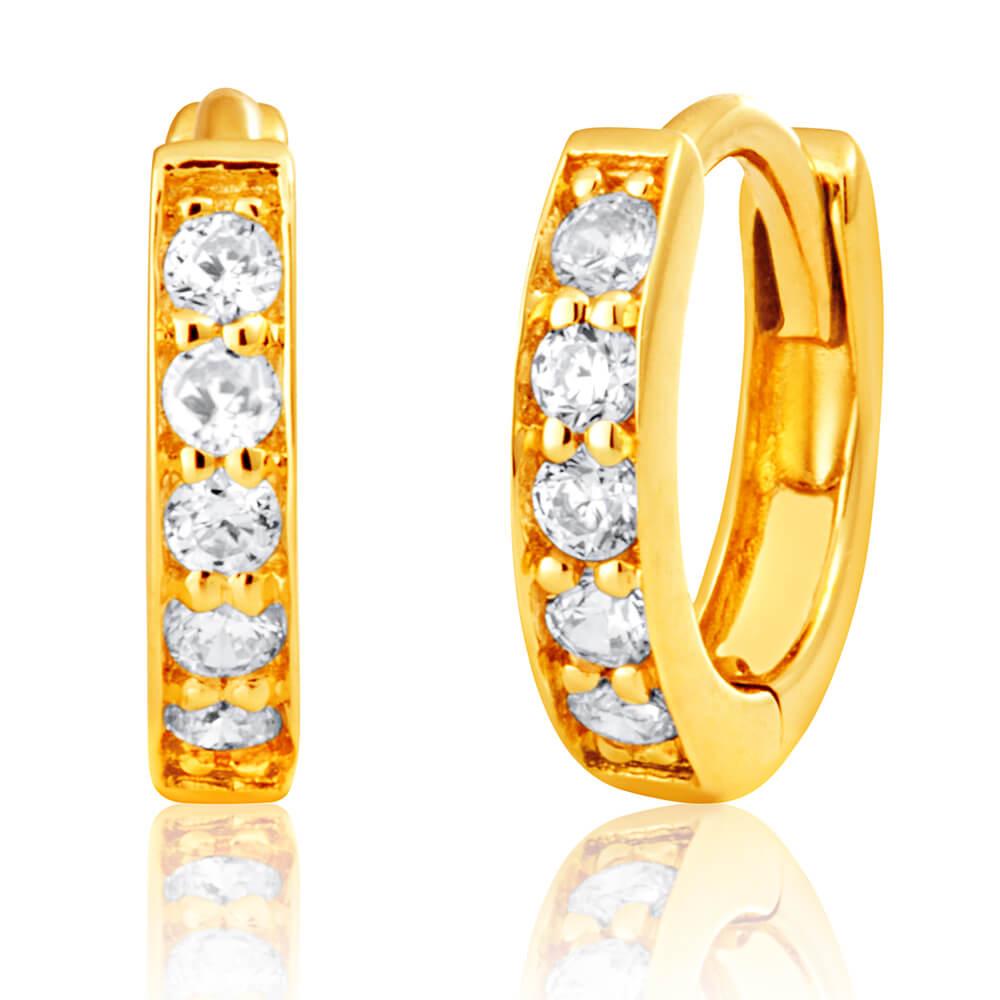 9ct Yellow Gold Cubic Zirconia Huggie Earrings