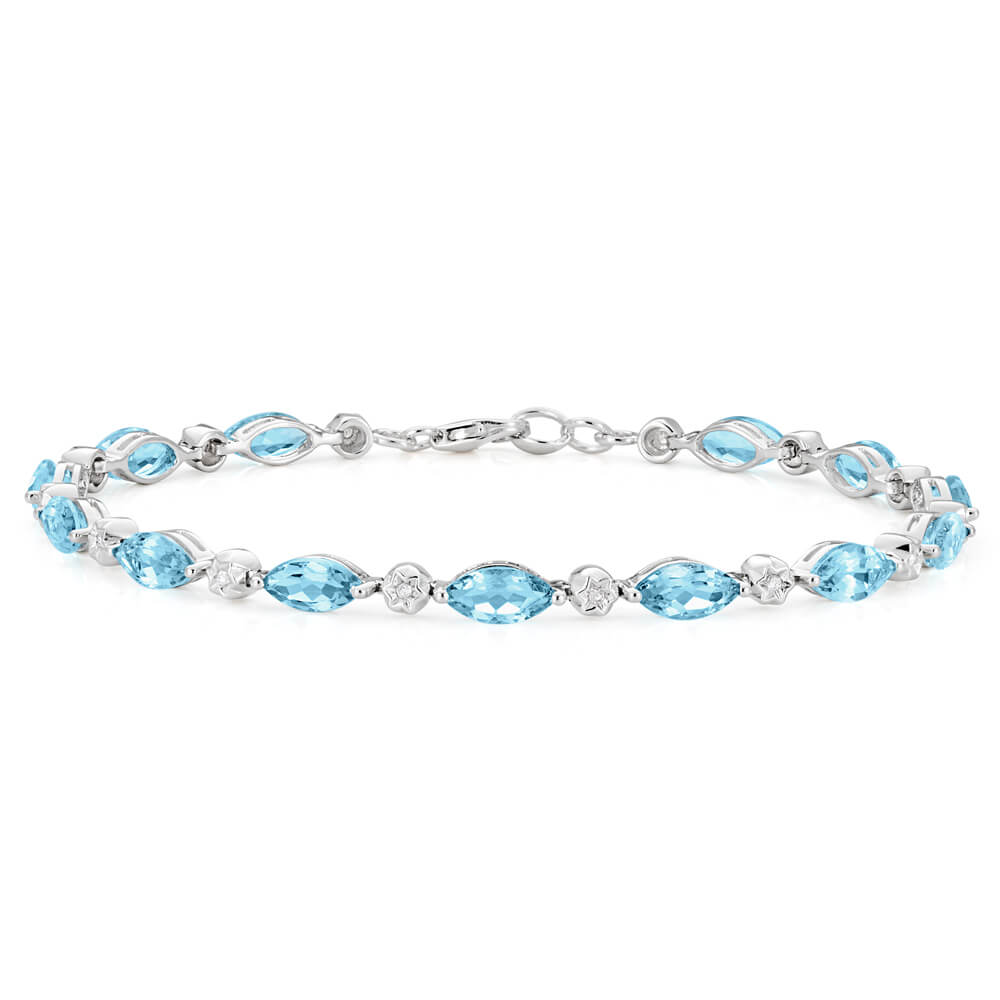 9ct Marquise Cut Sky Blue Topaz and Diamond 19cm Bracelet in White Gold