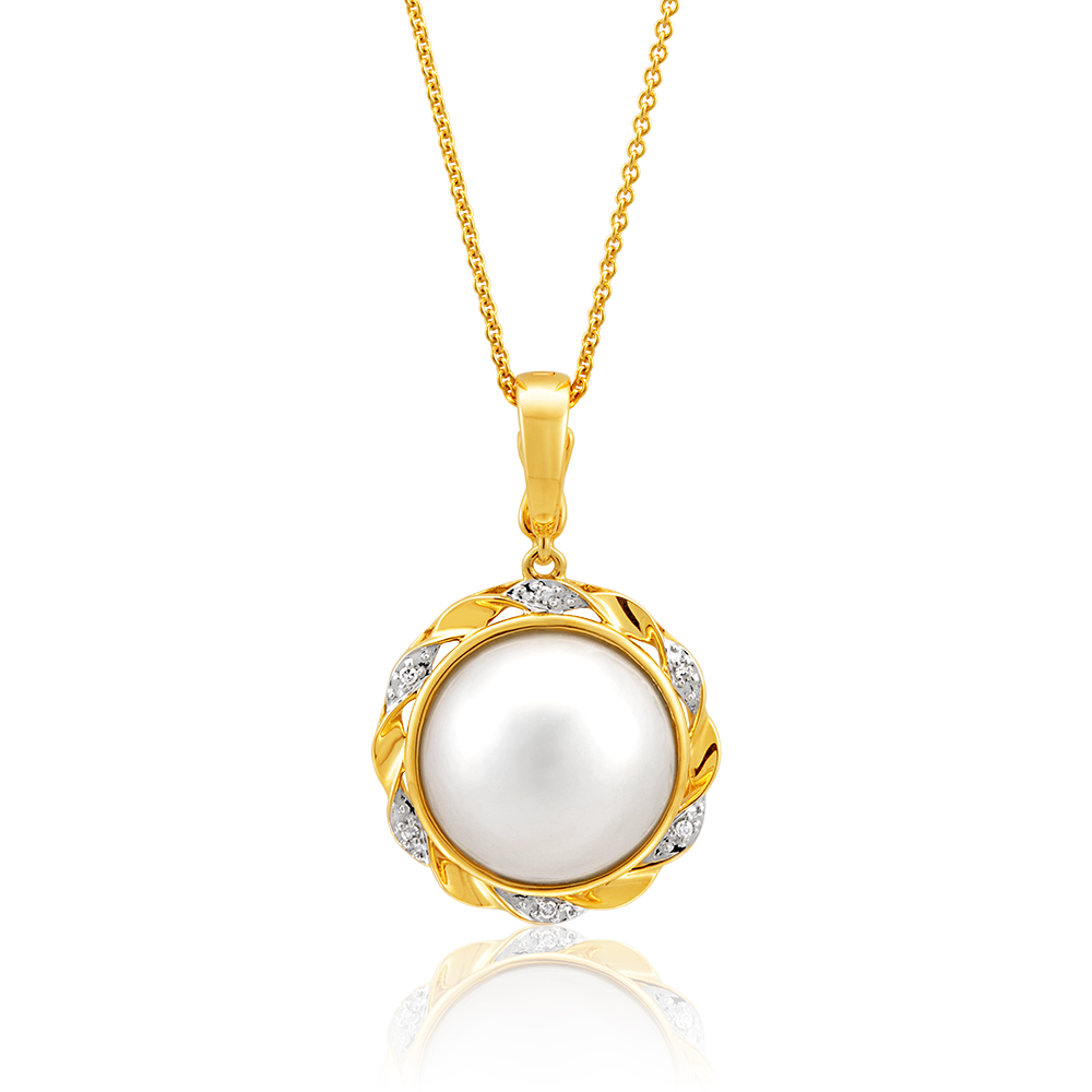 9ct Yellow Gold & White Gold Diamond + Pearl Pendant