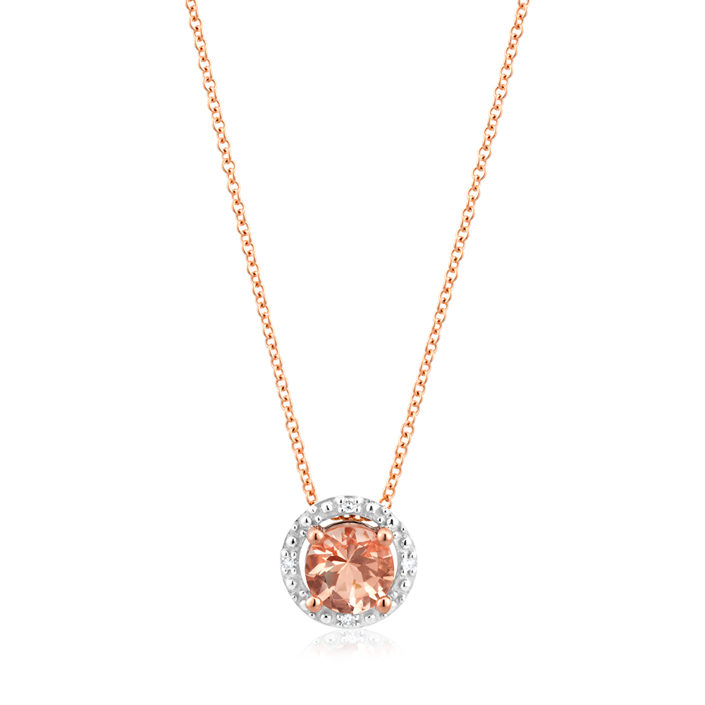 9ct Rose Gold Morganite 5mm with Diamond Halo Pendant With 45cm Chain