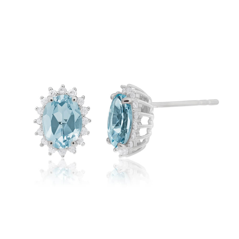 9ct White Gold Aquamarine + Diamond Cluster Stud Earrings