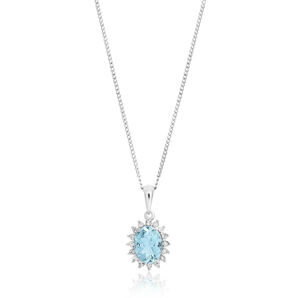 9ct White Gold Aquamarine + Diamond Pendant With 45cm Chain