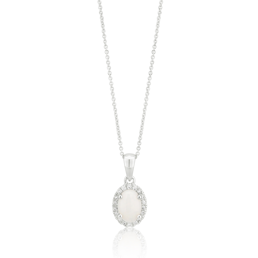 9ct White Opal 7x5mm and Diamond Halo Pendant with 45cm Chain