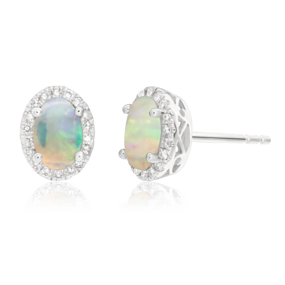 9ct White Gold Opal 6x4mm and Diamond Stud Earrings