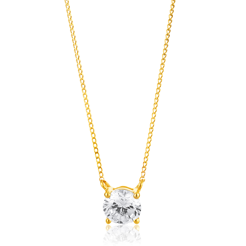 9ct Yellow Gold Zirconia 5mm Solitaire Pendant on 45cm Chain