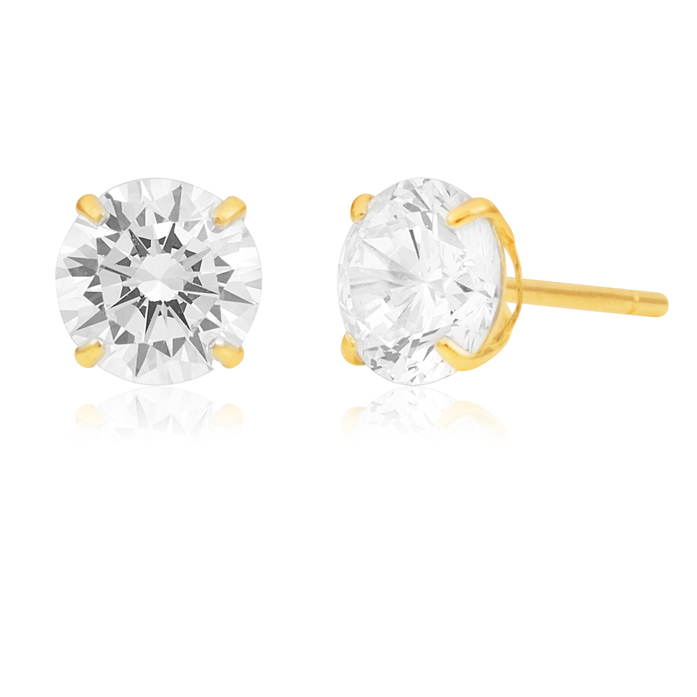 9ct Yellow Gold 6mm Brilliant Zirconia Studs
