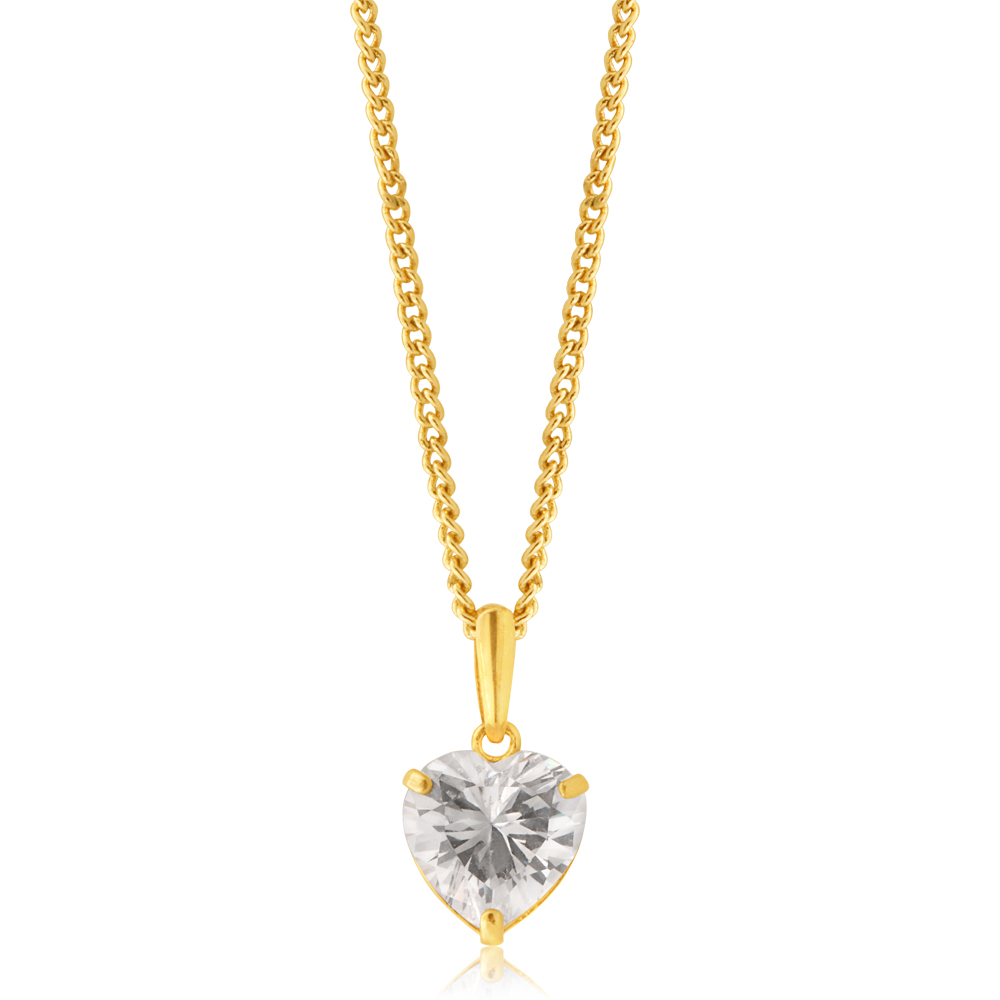 9ct Yellow Gold Zirconia Pendant