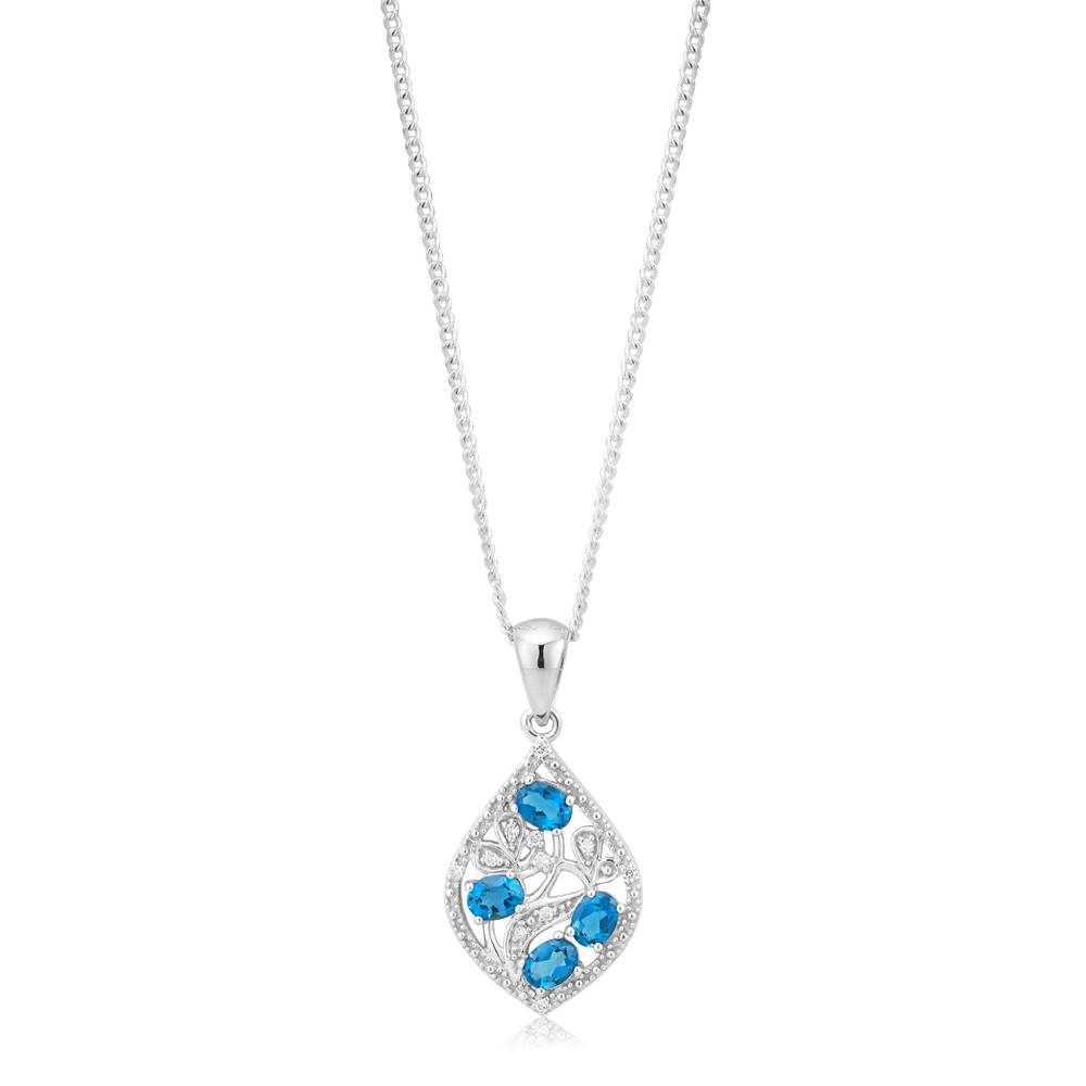 9ct White Gold London Blue Topaz 4x3mm and Diamond Pendant