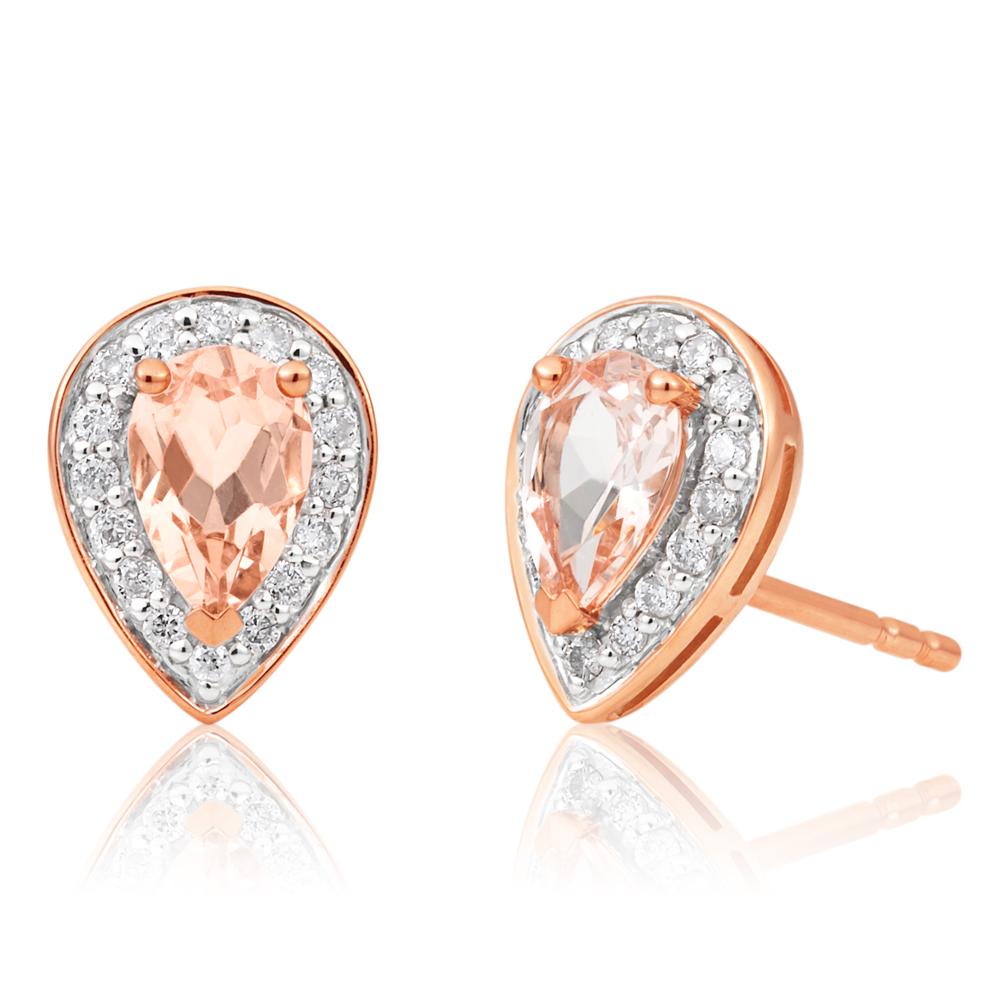 9ct Rose Gold 6x4mm Pear Morganite and 0.15ct Diamond Stud Earrings