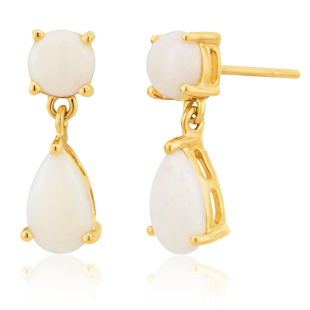 9ct Yellow Gold White Opal Drop Earrings