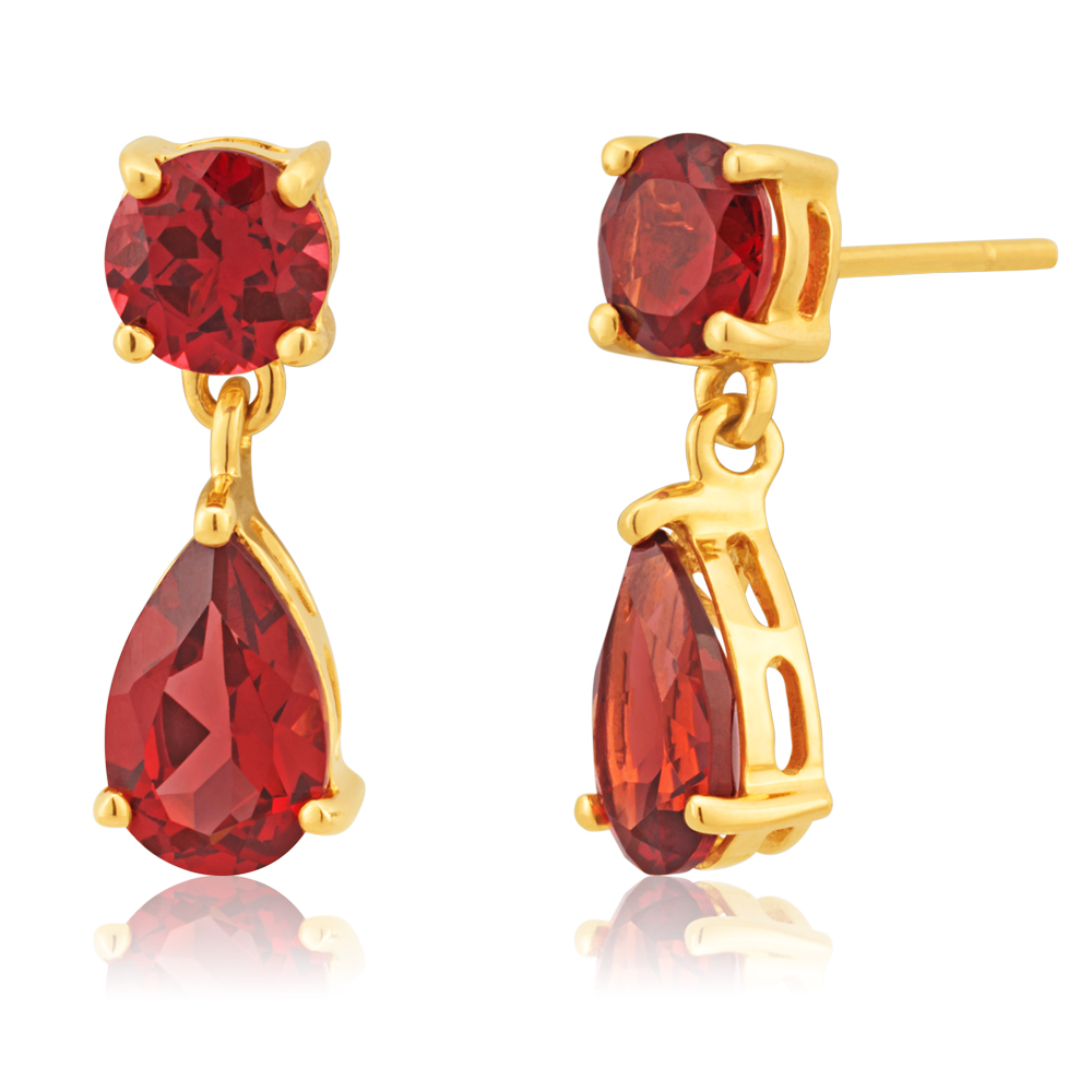 9ct Yellow Gold Garnet Drop Earrings