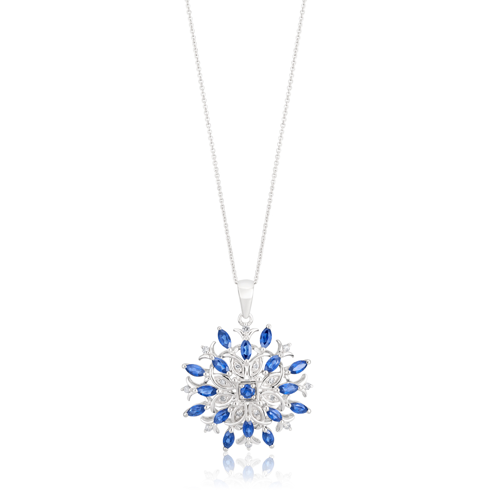 9ct White Gold Created Sapphire and Diamond 0.01ct Fancy Pendant with 45cm Chain