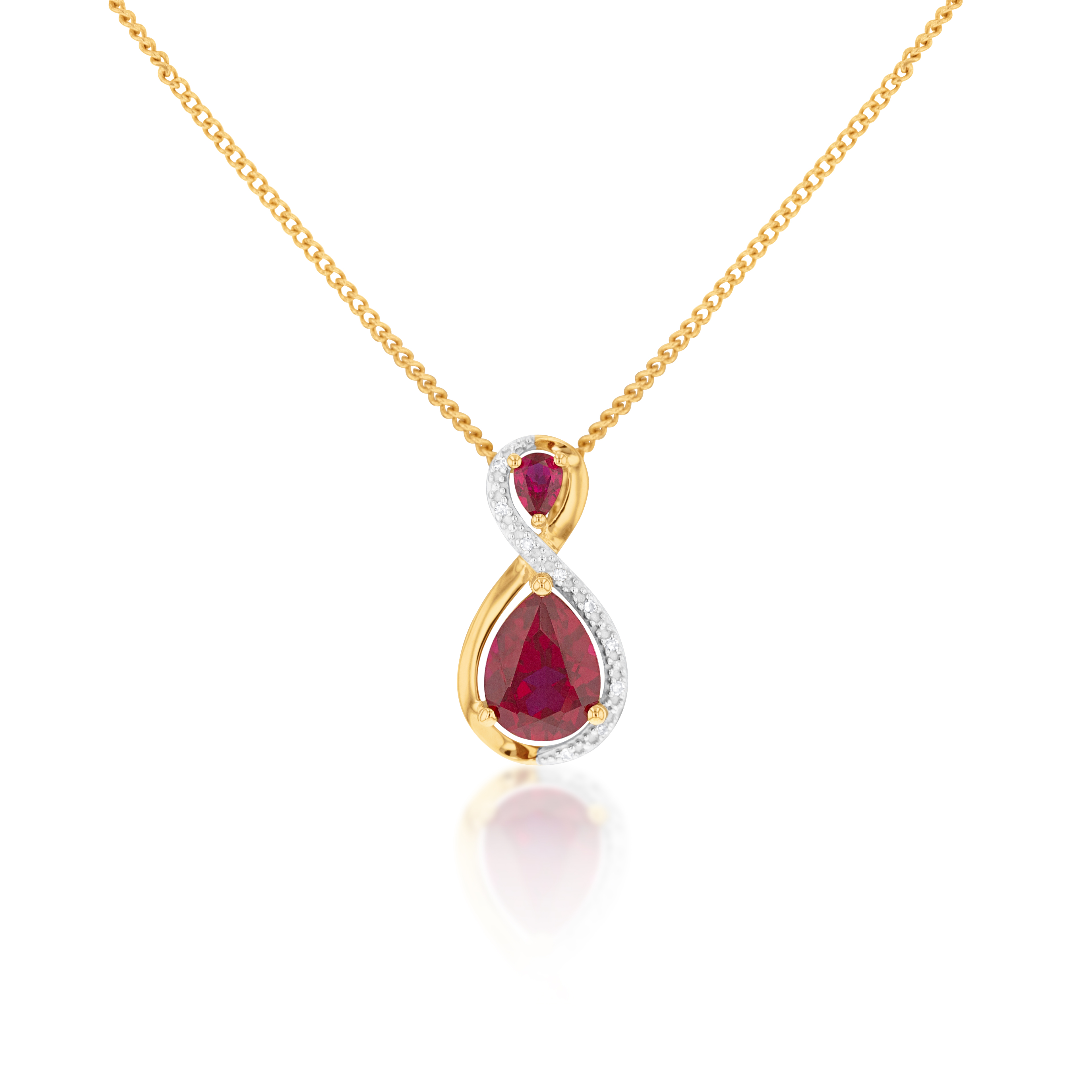 9ct Yellow Gold Created Ruby and Diamond Pendant