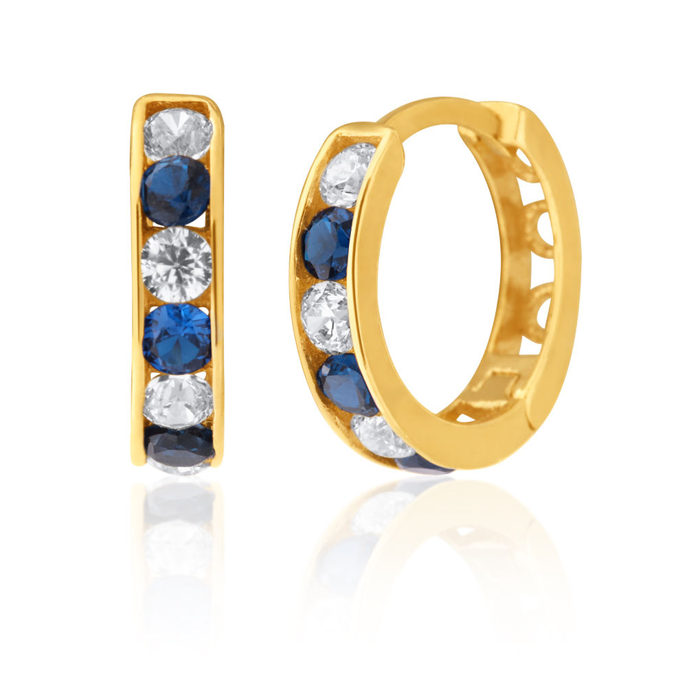 9ct Yellow Gold White and Blue Cubic Zirconia Huggie Earrings