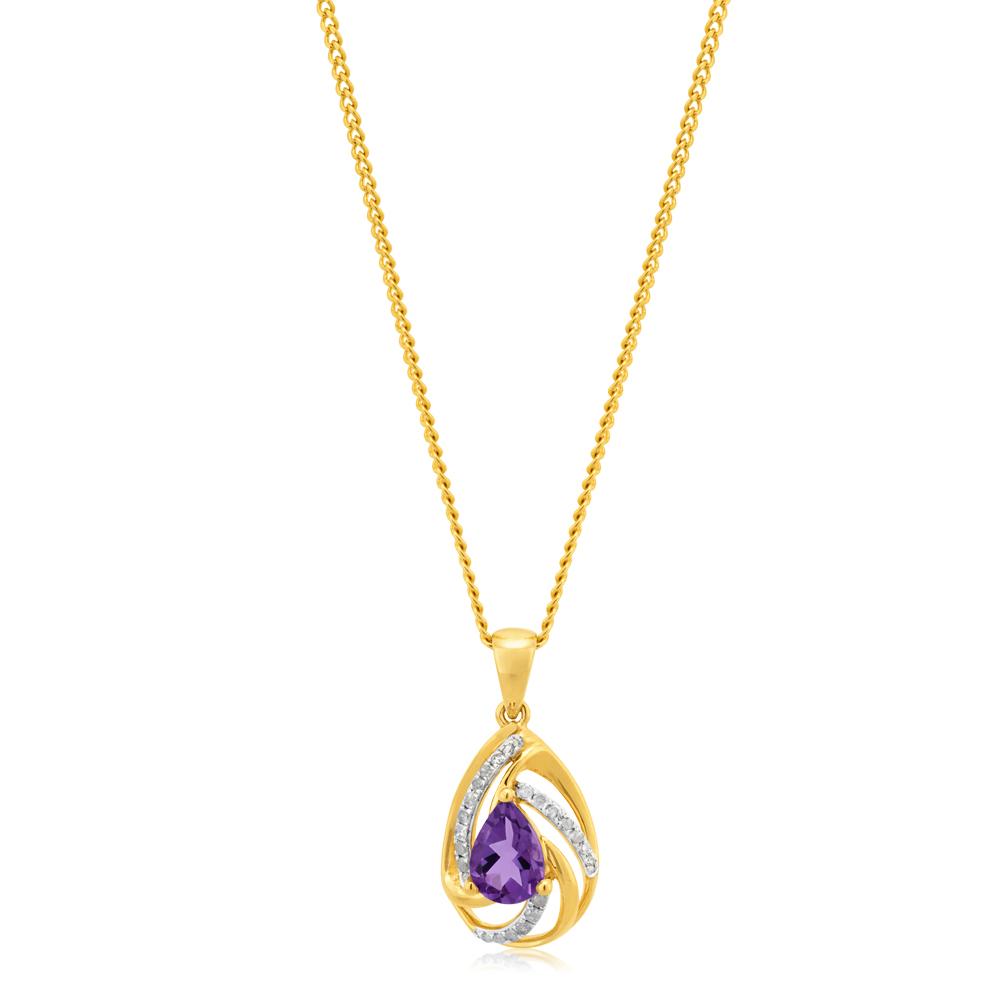 9ct Yellow Gold Amethyst Pendant with Diamonds