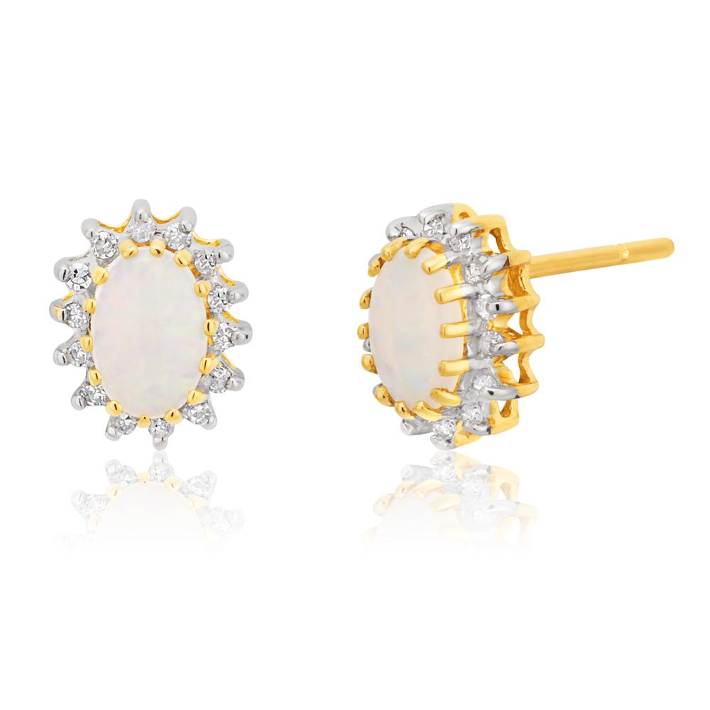 9ct Yellow Gold Opal & Diamond Stud Earrings