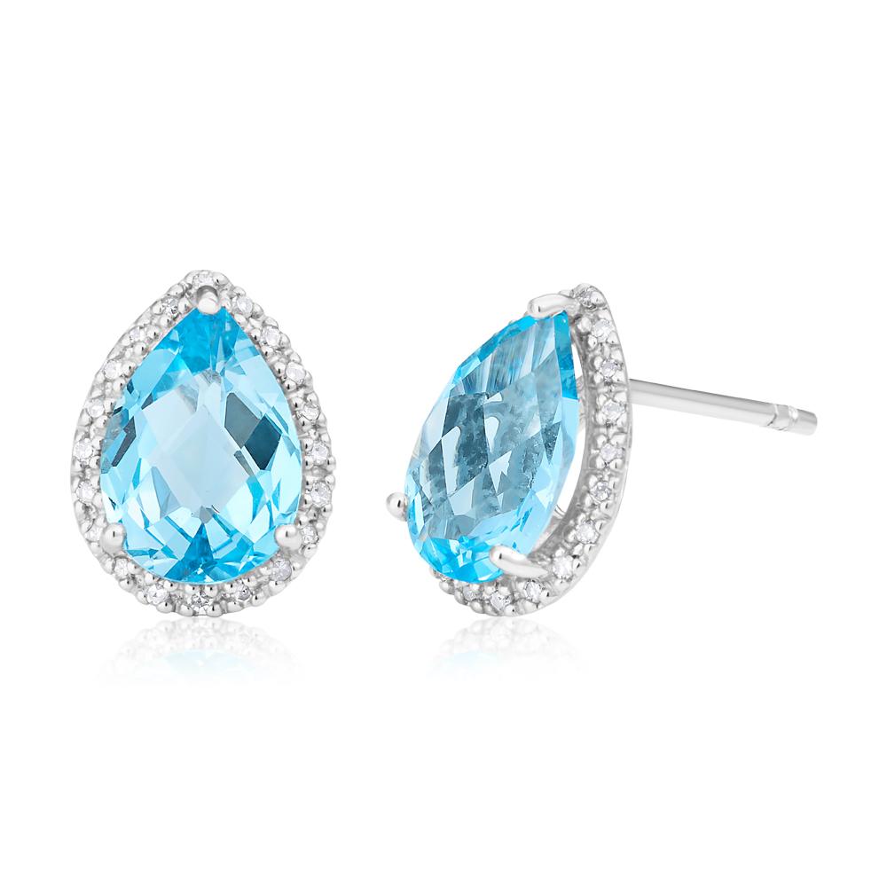 9ct White Gold Blue Topaz and Diamond Stud Earrings