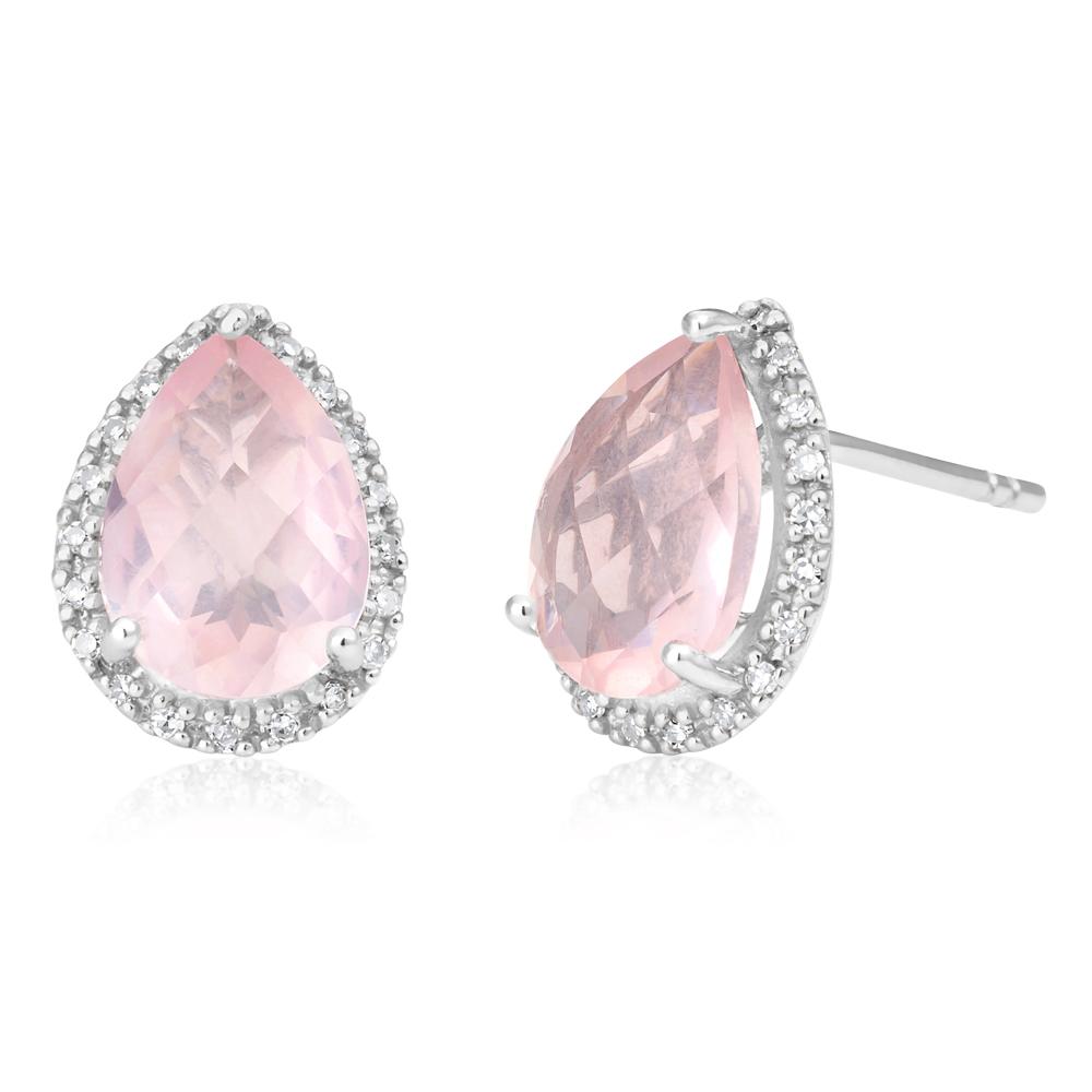 9ct White Gold Rose Quartz and Diamond Stud Earrings