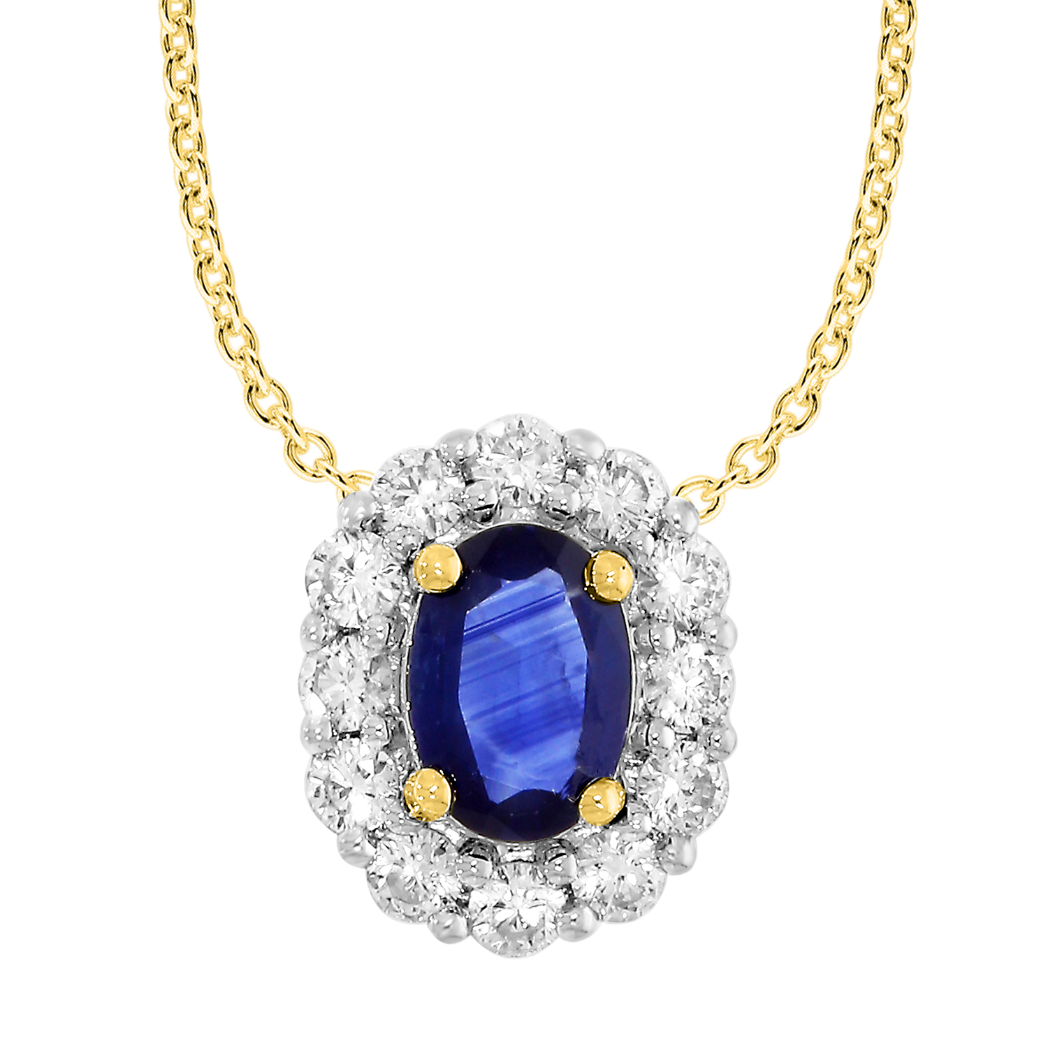 18ct Yellow Gold Natural Sapphire & Diamond Pendant with 45cm Chain