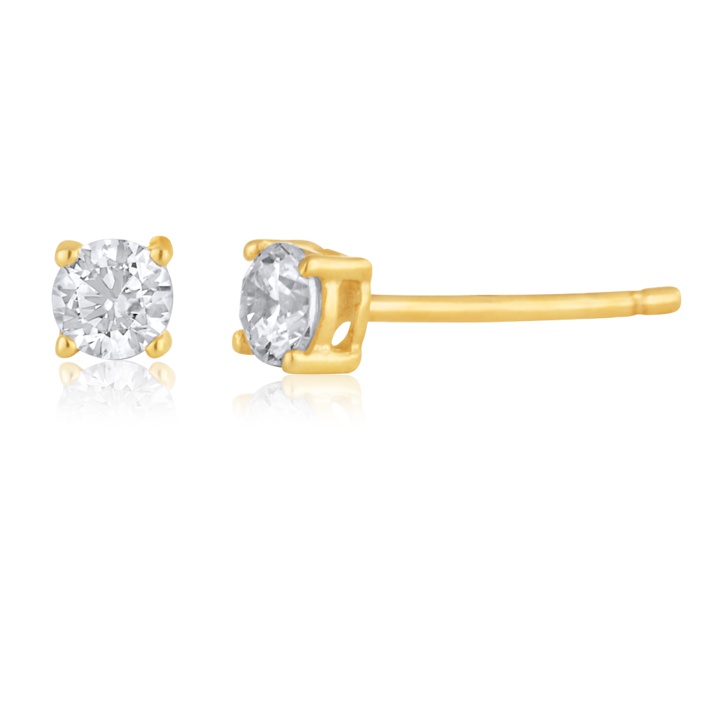 9ct Yellow Gold 3mm Cubic Zirconia Round Studs