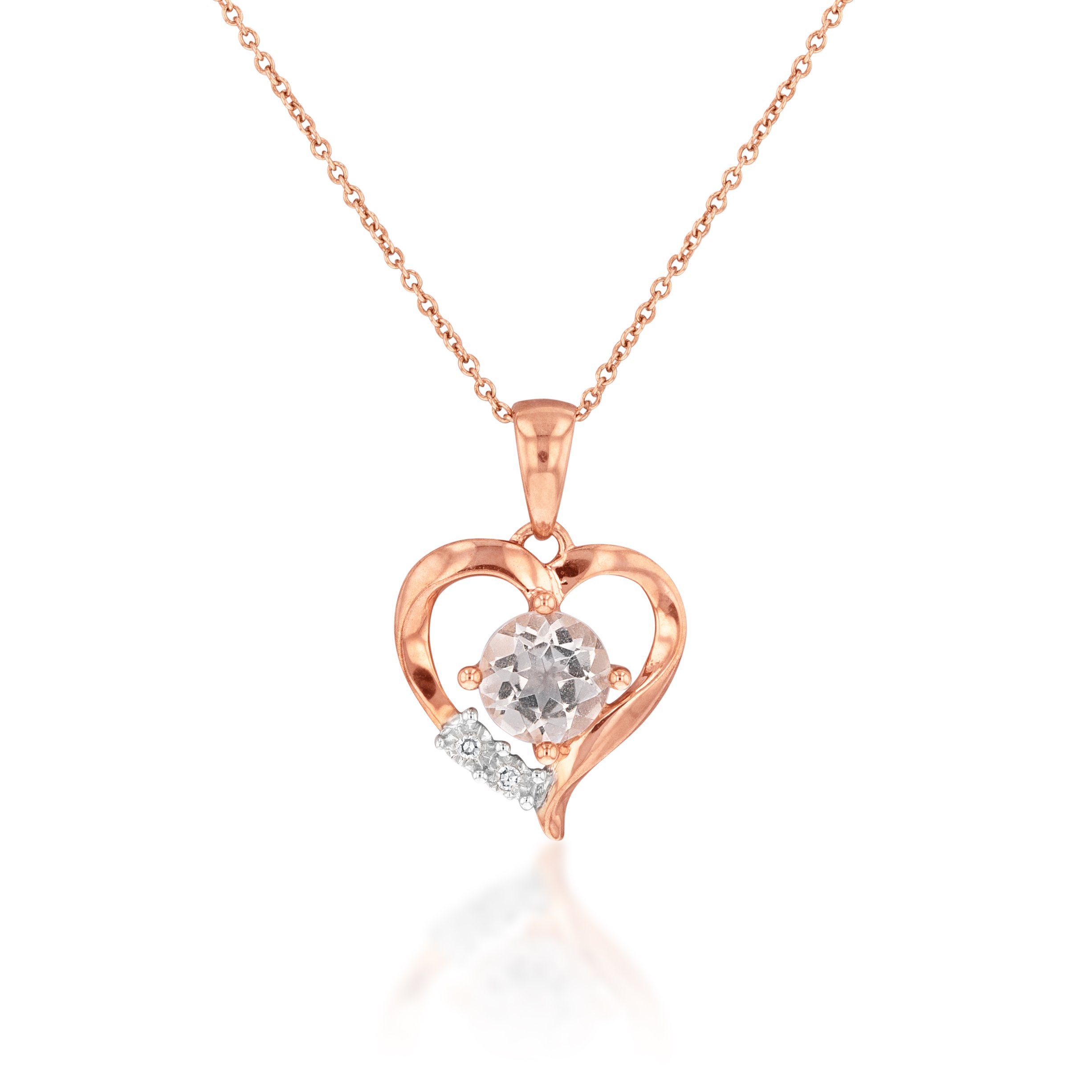 9ct Rose Gold Morganite & Diamond Heart Pendant with 44cm Chain Included