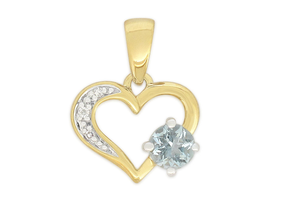 9ct Yellow Gold Aquamarine & Diamond Heart Pendant with 45cm Chain Included