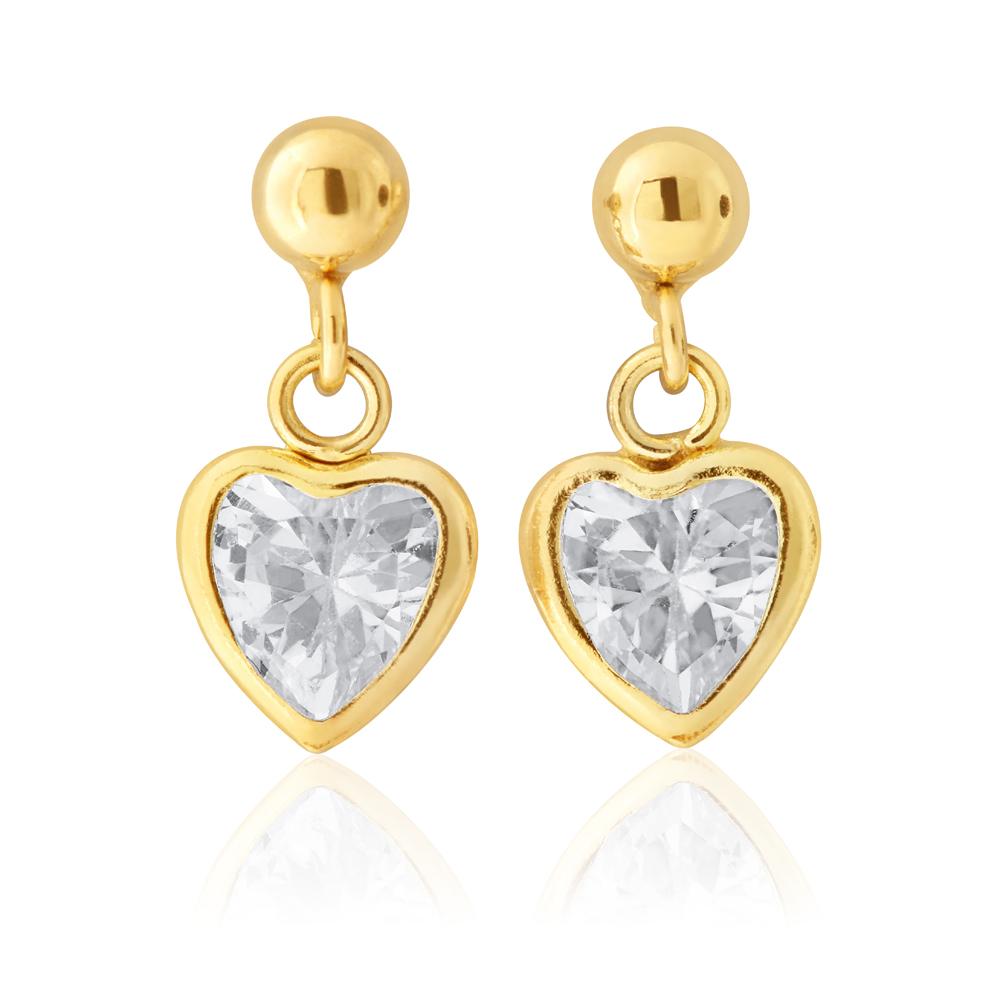 9ct Yellow Gold Heart Shape Zirconia Drop Earrings