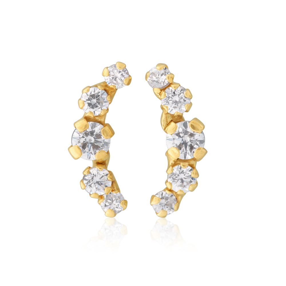 9ct Yellow Gold Zirconia Climber Studs