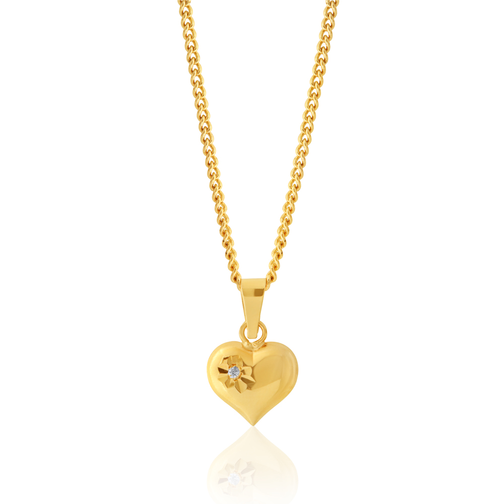 9ct Yellow Gold Zirconia Heart Pendant