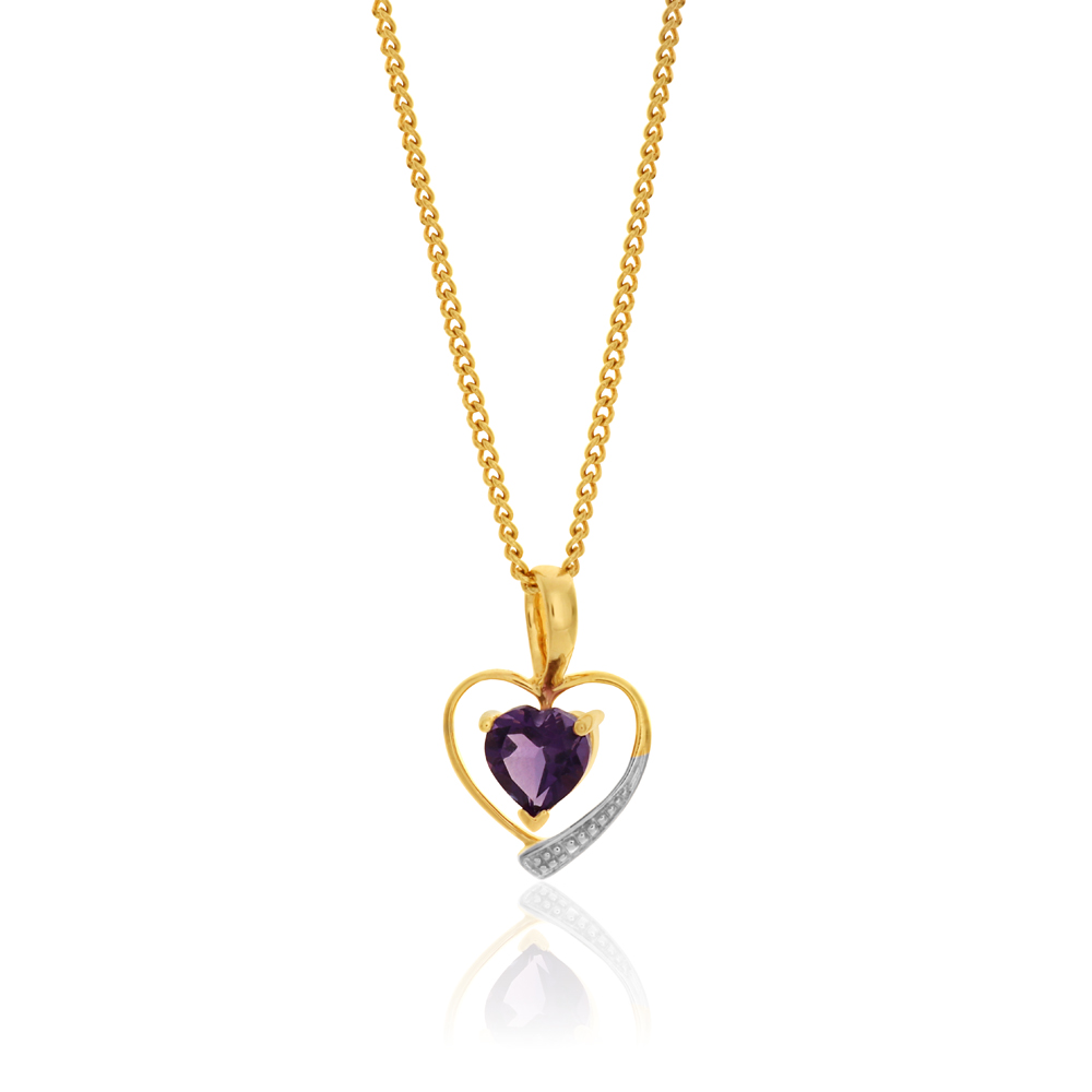 9ct Yellow Gold Amethyst Heart Pendant
