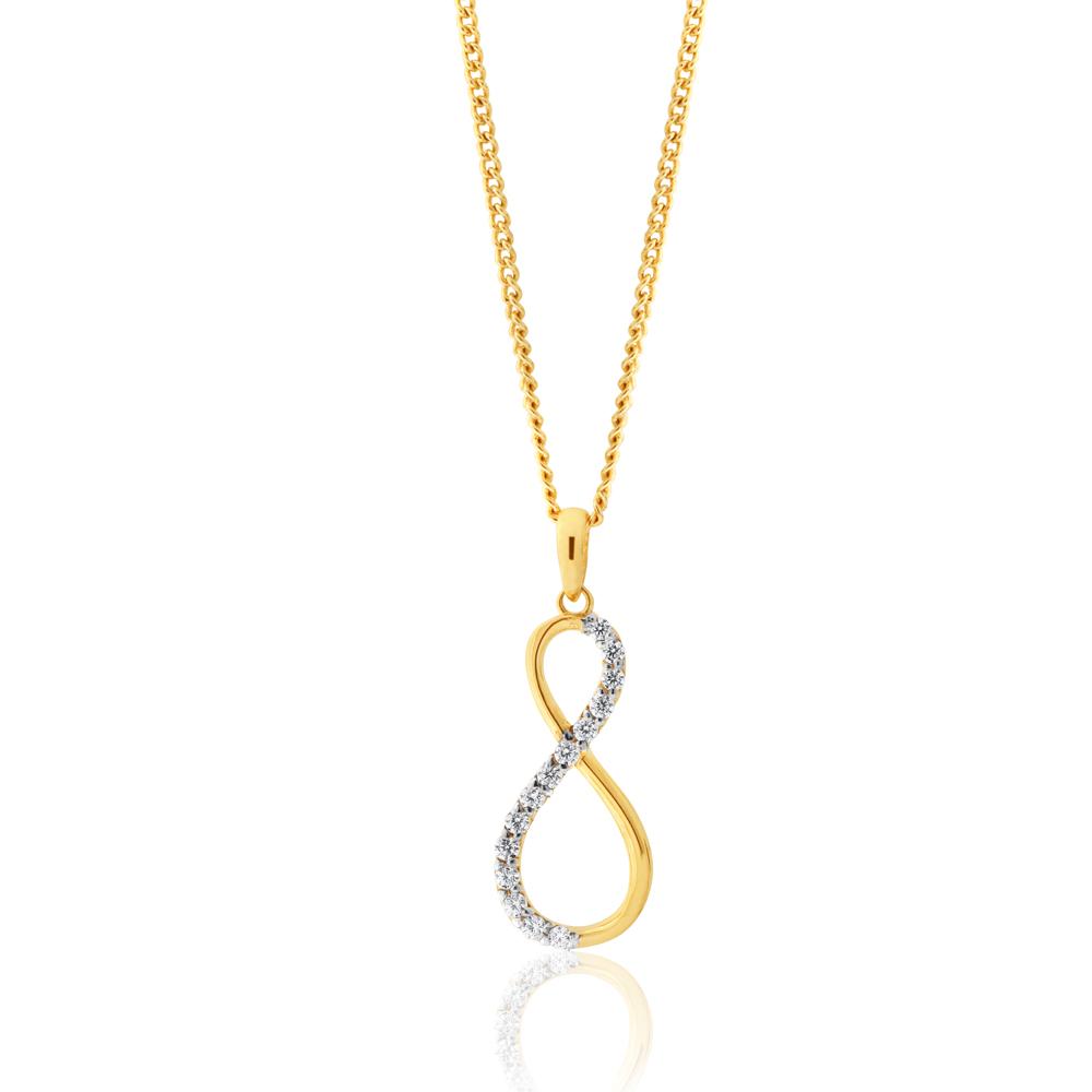 9ct Yellow Gold Zirconia Infinity Pendant