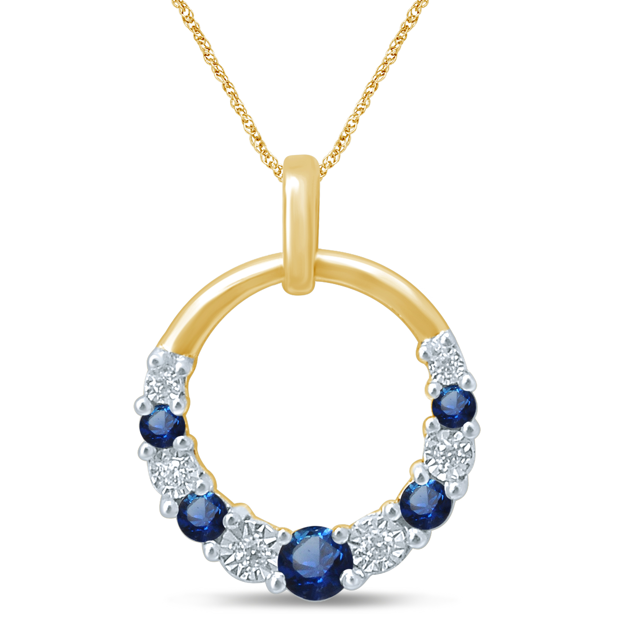 9ct Yellow Gold Natural Sapphire & Diamond Pendant with 45cm Chain Included
