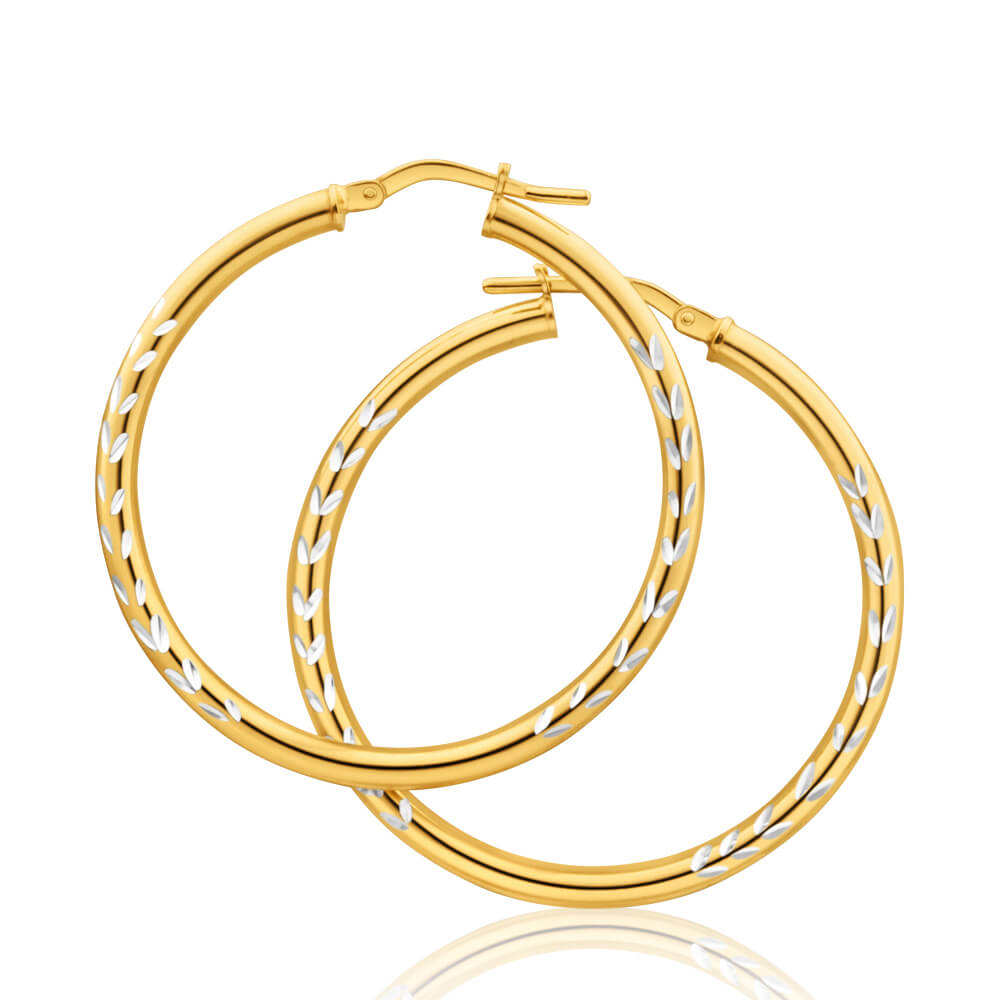 9ct Yellow Gold Silver Filled Two Tone 30mm Hoop Earrings