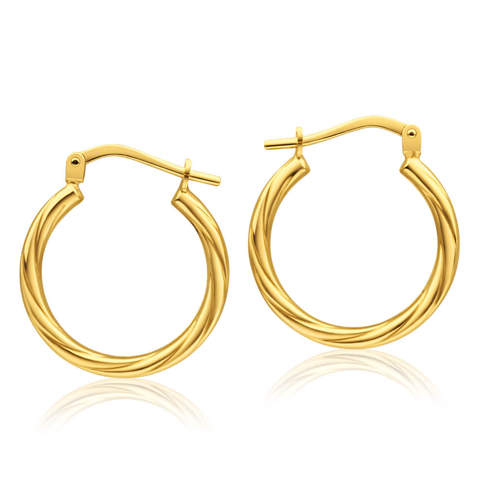 9ct Yellow Gold Silver Filled Twist 15mm Hoop Earrings