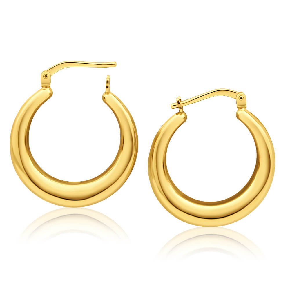 9ct Yellow Gold Silver Filled Plain Graduated 20mm Hoop Earrings