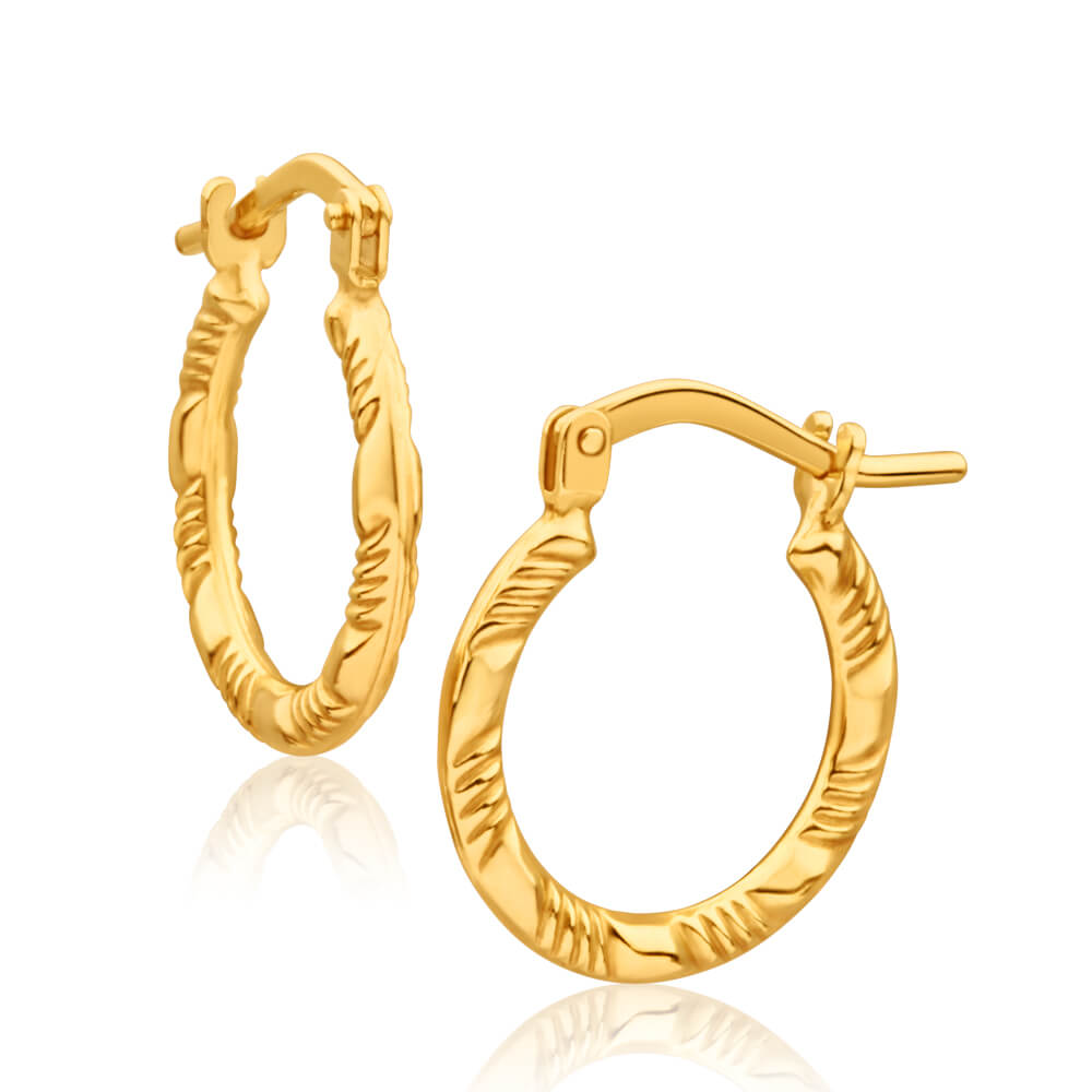 9ct Yellow Gold Silver Filled Fancy 15mm Hoop Earrings