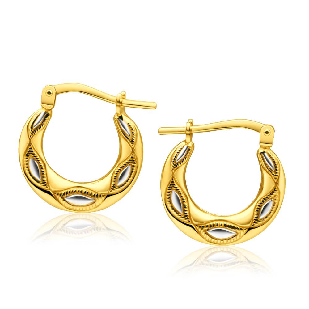9ct Yellow Gold Silver FilledTwo Tone 15mm Hoop Earrings