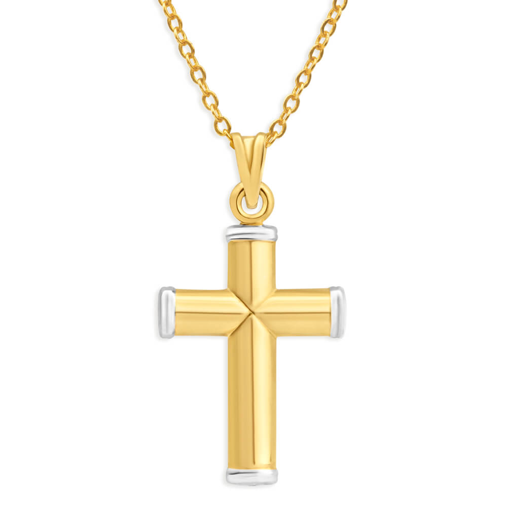 9ct Yellow Gold Silver Filled Plain Two Tone Cross Pendant
