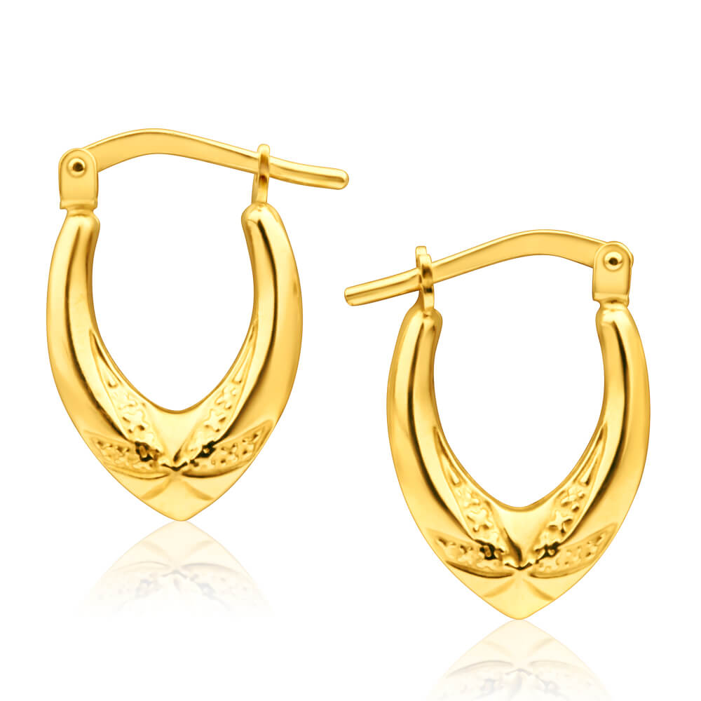 9ct Yellow Gold Silver Filled Polished V Shape Hoop Earrings