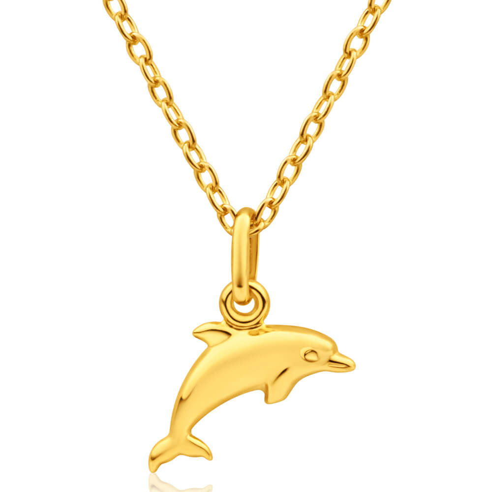 9ct Yellow Gold Silver Filled Dolphin Pendant