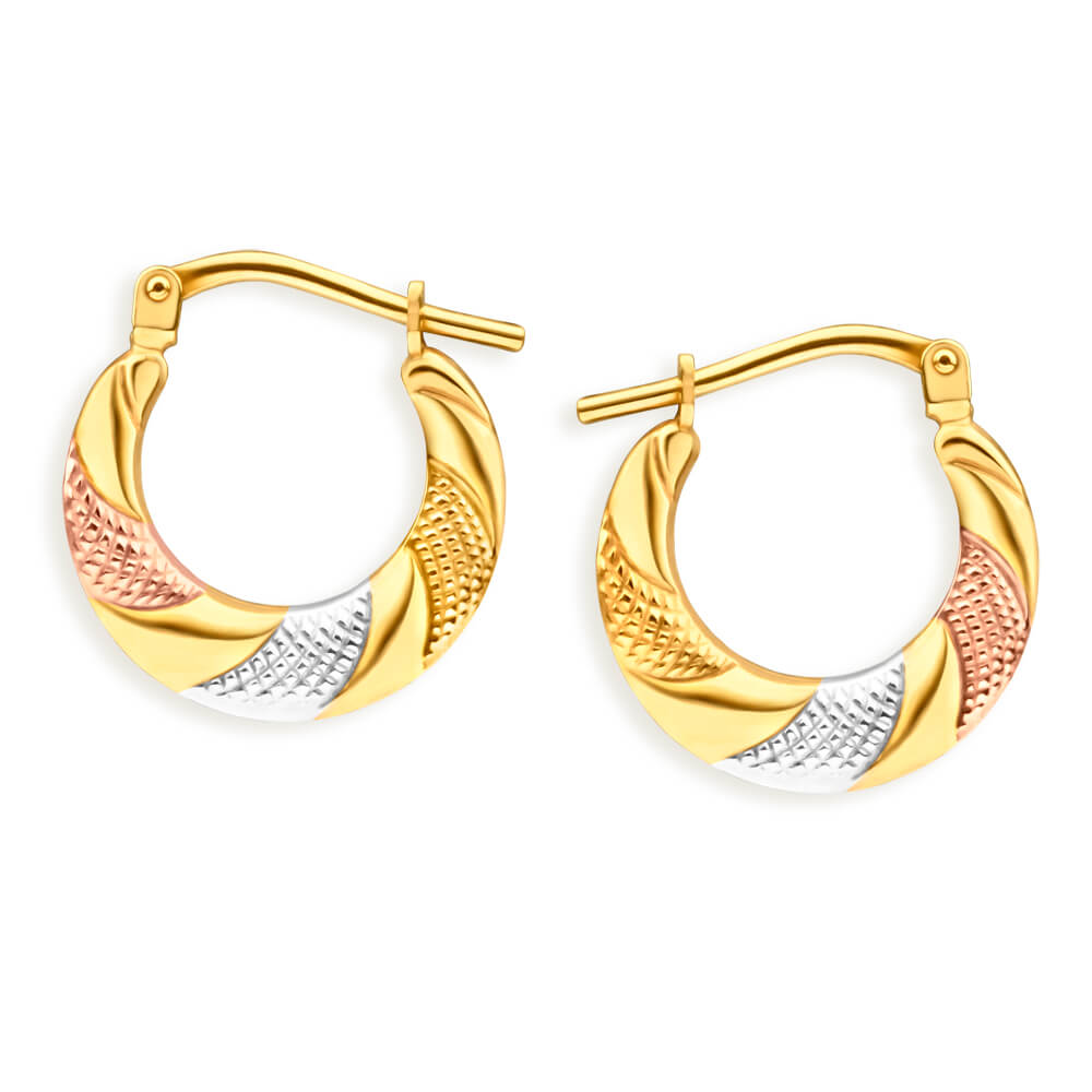 9ct Yellow Gold Silver Filled Three Tone Patterned Hoop Earrings
