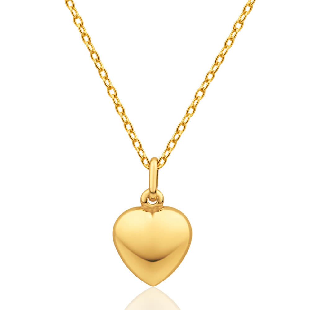 9ct Yellow Gold Silver Filled Plain Puff Heart Pendant