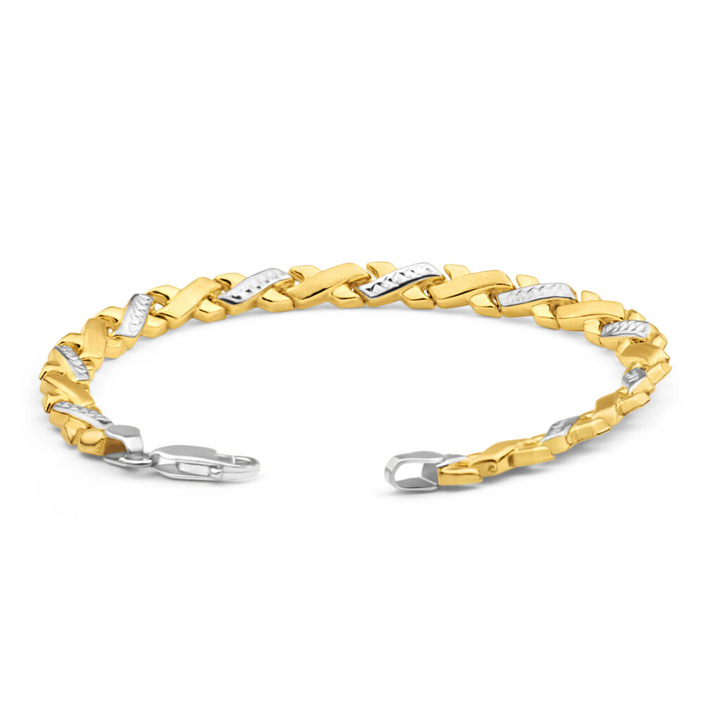 9ct Yellow Gold Silver Filled Xover Fancy 19cm Bracelet