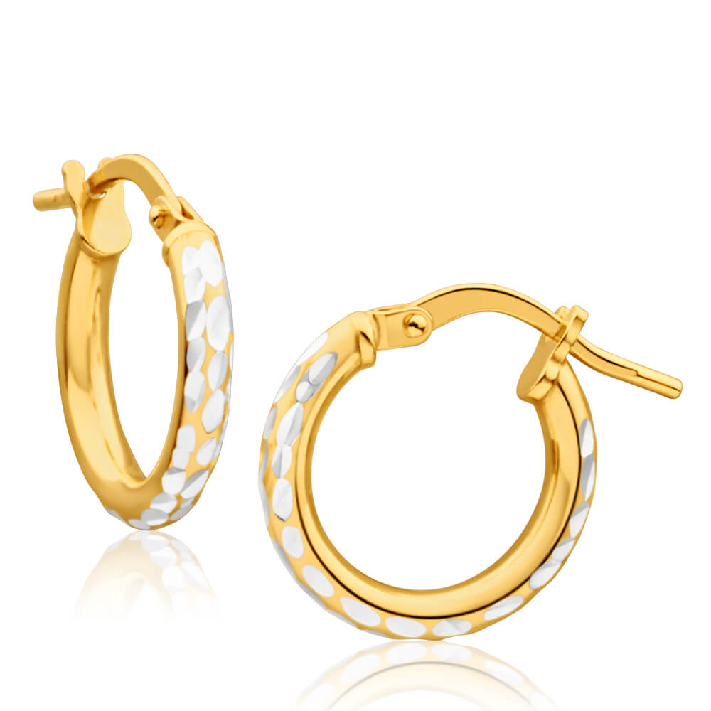 9ct Yellow Gold Silver Filled 10mm Hoop Earrings with diamond cut feature