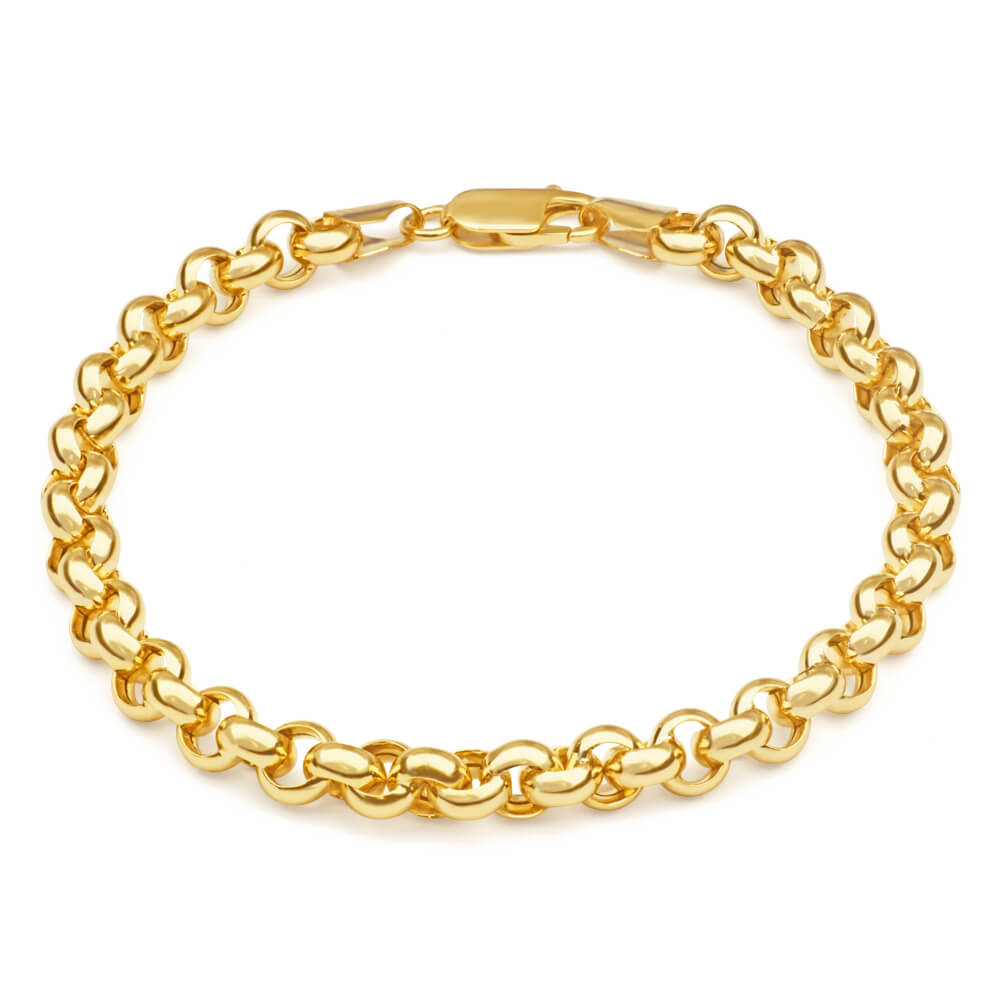 9ct Gorgeous Yellow Gold Silver Filled Belcher Bracelet