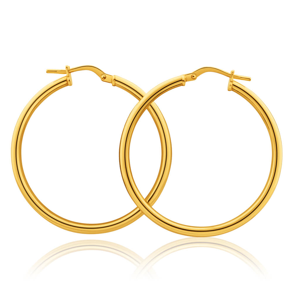 9ct Yellow Gold Silver Filled Gypsy 30mm Hoop Earrings