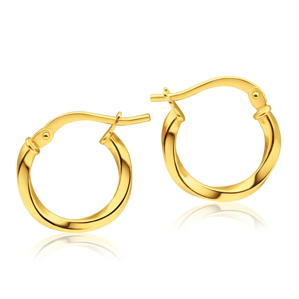 9ct Yellow Gold Silver Filled Twist 10mm Hoop Earrings