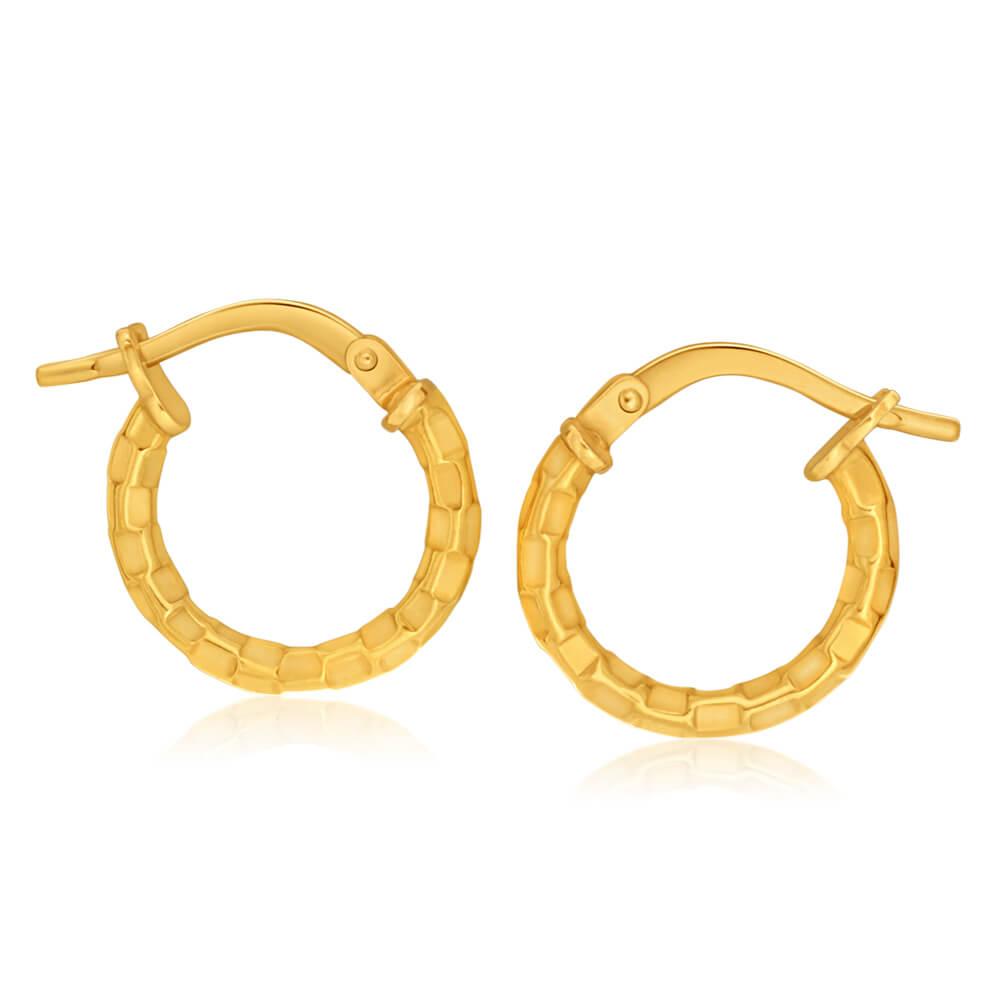 9ct Yellow Gold Silver Filled Fancy Hoop Earrings