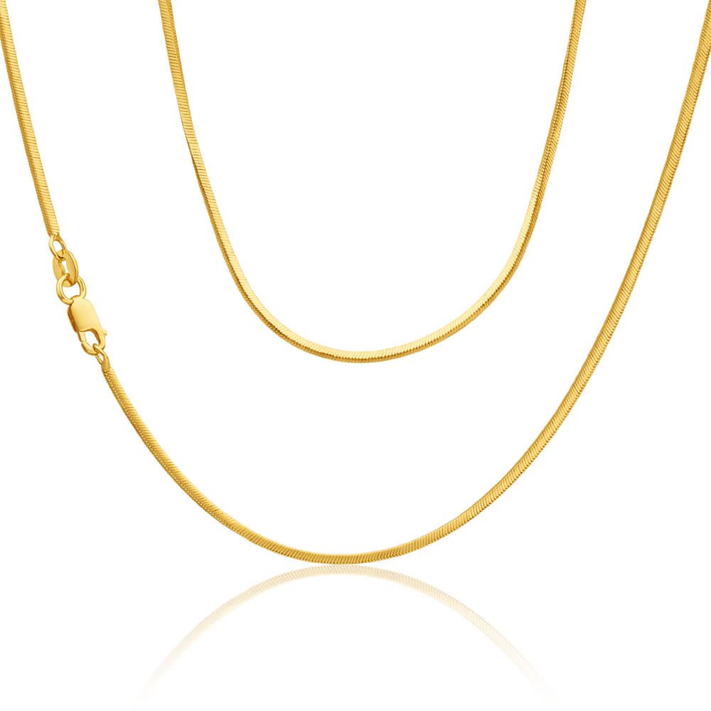 9ct Yellow Gold Silver Filled Snake Sq 45cm Chain