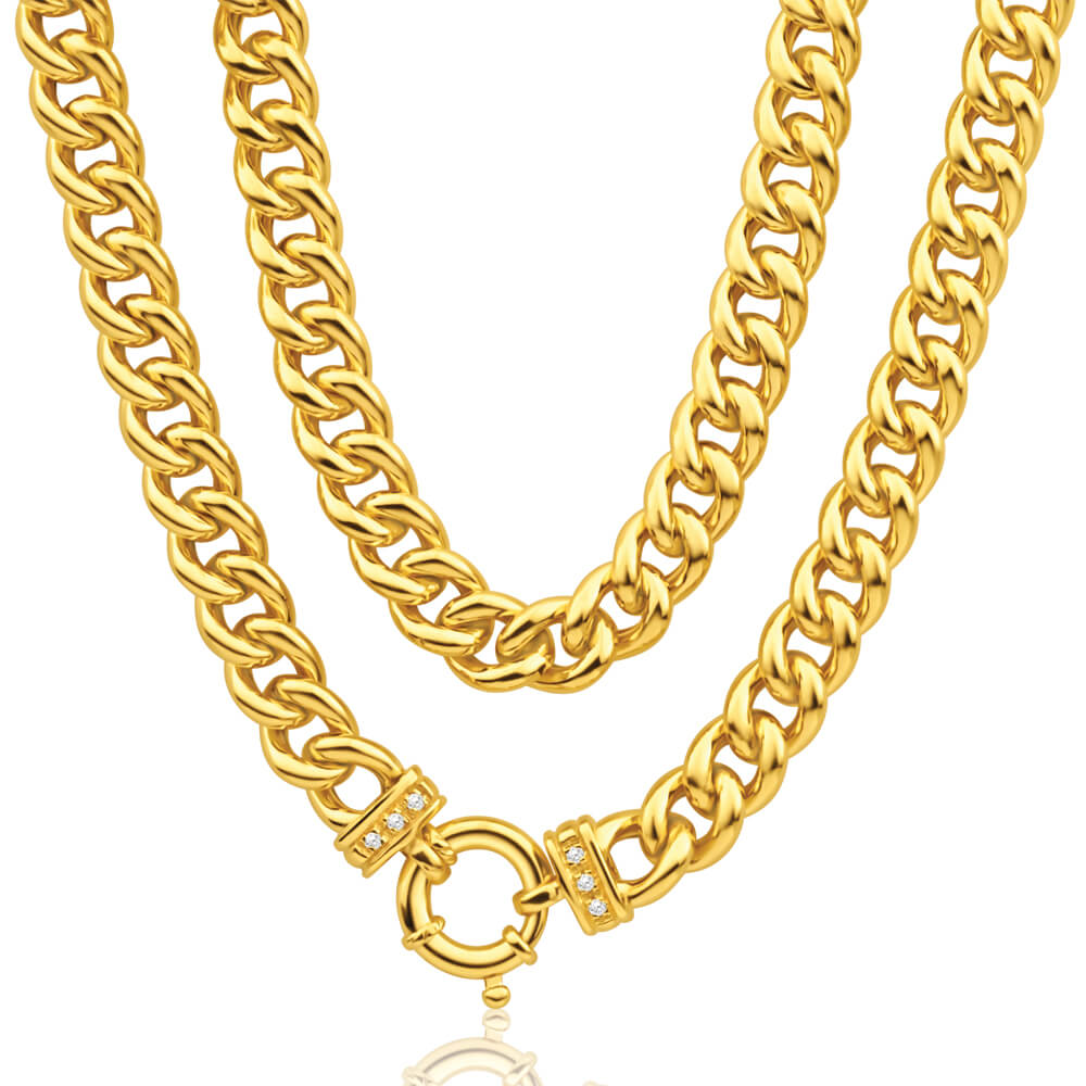 9ct Yellow Gold Silver Filled Cubic Zirconia 50cm Curb Chain